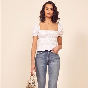 Reformation women's crop top scrunched linen shirt